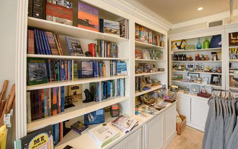 Books on shelves at Garden Gate store